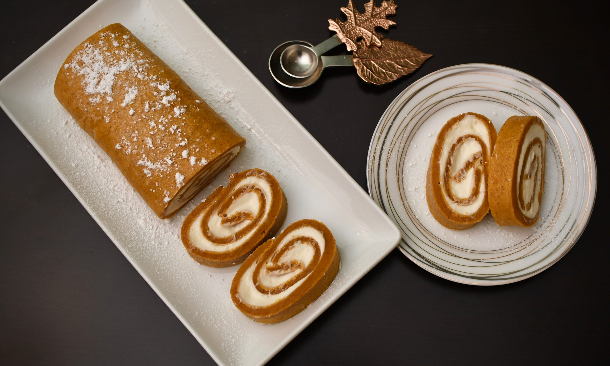 pumpkin cake roll thanksgiving dessert shot from above
